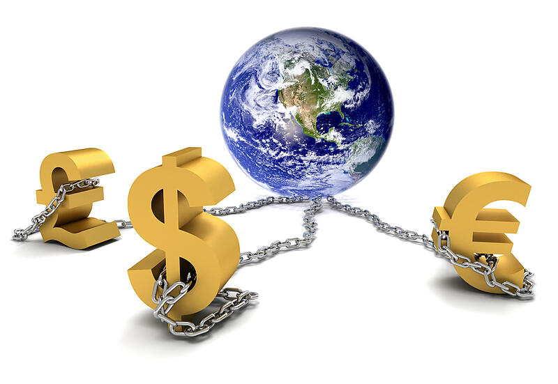 Currency symbols carrying the world with a chain isolated on white